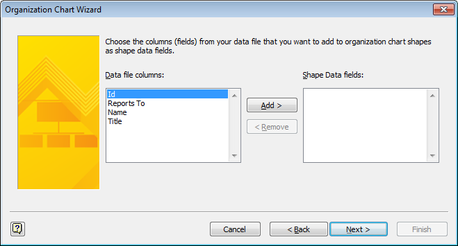 Defining fields for Visio shape data